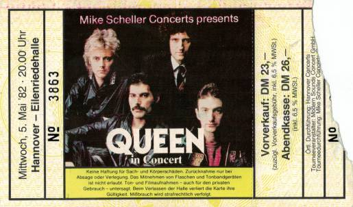 Ticket stub - Queen live at the Eilenriedehalle, Hanover, Germany [05.05.1982]