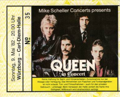 Ticket stub - Queen live at the Carl-Diem Halle, Würzburg, Germany [09.05.1982]