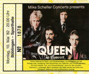 Ticket stub - Queen live at the Sporthalle, Böblingen, Germany [10.05.1982]