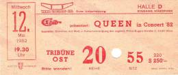 Ticket stub - Queen live at the Stadthalle, Vienna, Austria [12.05.1982]