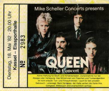 Ticket stub - Queen live at the Eissporthalle, Kassel, Germany [18.05.1982]