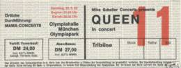 Ticket stub - Queen live at the Olympiahalle, Munich, Germany [22.05.1982]