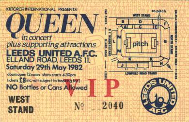 Ticket stub - Queen live at the Elland Road Football Stadium, Leeds, UK [29.05.1982]