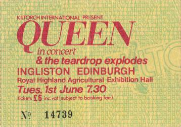 Ticket stub - Queen live at the Ingliston Showground, Edinburgh, UK [01.06.1982]