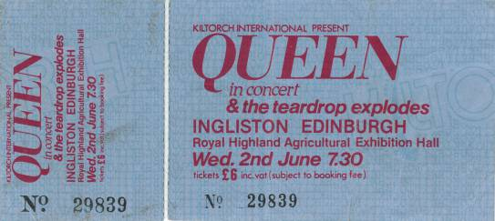 Ticket stub - Queen live at the Ingliston Showground, Edinburgh, UK [02.06.1982]