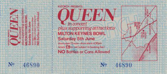 Ticket stub - Queen live at the Bowl, Milton Keynes, UK [05.06.1982]