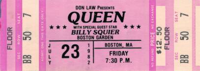 Ticket stub - Queen live at the Garden, Boston, MA, USA [23.07.1982]