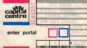 Ticket stub - Queen live at the Capital Centre, Landover, MD, USA [25.07.1982]
