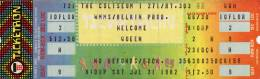 Ticket stub - Queen live at the Coliseum, Richfield, OH, USA [31.07.1982]