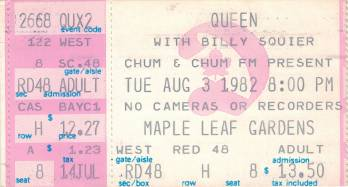 Ticket stub - Queen live at the Maple Leaf Gardens, Toronto, Canada [03.08.1982]
