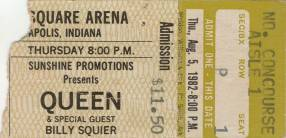 Ticket stub - Queen live at the Market Square Arena, Indianapolis, IN, USA [05.08.1982]