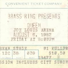 Ticket stub - Queen live at the Joe Louis Arena, Detroit, MI, USA [06.08.1982]