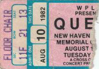 Ticket stub - Queen live at the Coliseum, New Haven, CT, USA [10.08.1982]