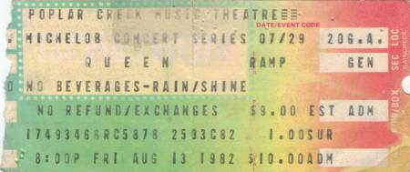 Ticket stub - Queen live at the Poplar Creek Music Theater, Hoffman Estates, IL, USA [13.08.1982]