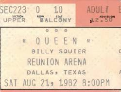 Ticket stub - Queen live at the Reunion, Dallas, TX, USA [21.08.1982]