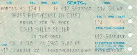 Ticket stub - Queen live at the Omni, Atlanta, GA, USA [24.08.1982]