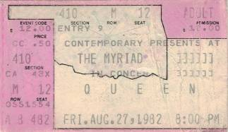 Ticket stub - Queen live at the Myriad, Oklahoma City, OK, USA [27.08.1982]