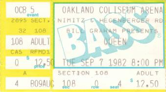 Ticket stub - Queen live at the Oakland Coliseum Arena, Oakland, CA, USA [07.09.1982]