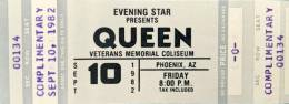 Ticket stub - Queen live at the Veteran's Memorial Coliseum, Phoenix, AZ, USA [10.09.1982]