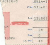 Ticket stub - Queen live at the Forum, Inglewood, CA, USA [14.09.1982]