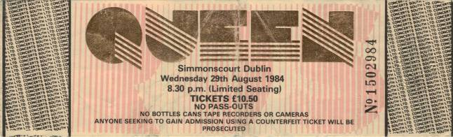 Ticket stub - Queen live at the RDS Simmons Hall, Dublin, Ireland [29.08.1984]