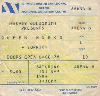 Ticket stub - Queen live at the National Exhibition Centre, Birmingham, UK [01.09.1984]