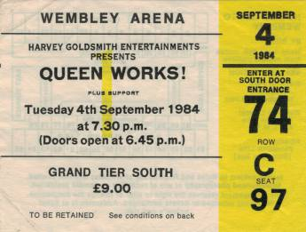 Ticket stub - Queen live at the Wembley Arena, London, UK [04.09.1984]