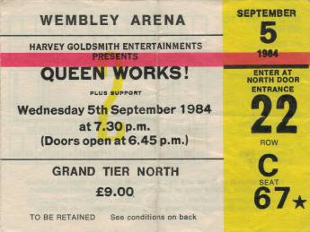 Ticket stub - Queen live at the Wembley Arena, London, UK [05.09.1984]