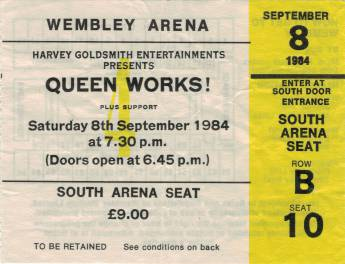 Ticket stub - Queen live at the Wembley Arena, London, UK [08.09.1984]