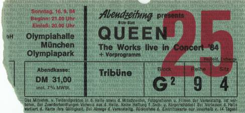 Ticket stub - Queen live at the Olympiahalle, Munich, Germany [16.09.1984]