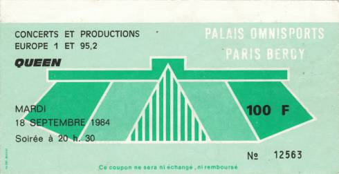 Ticket stub - Queen live at the Palais Omnisports de Bercy, Paris, France [18.09.1984]