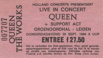 Ticket stub - Queen live at the Groenoordhallen, Leiden, The Netherlands [20.09.1984]