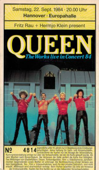 Ticket stub - Queen live at the Europahalle, Hanover, Germany [22.09.1984]