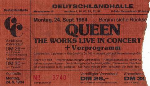 Ticket stub - Queen live at the Deutschlandhalle, Berlin, Germany [24.09.1984]