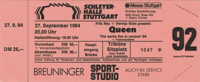 Ticket stub - Queen live at the Schleyerhalle, Stuttgart, Germany [27.09.1984]