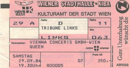 Ticket stub - Queen live at the Stadthalle, Vienna, Austria [29.09.1984]