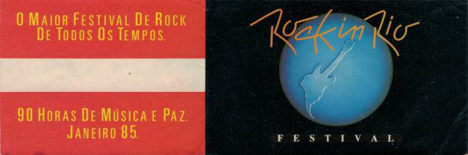 Ticket stub - Queen live at the Barra of Tijuca (Rock In Rio), Rio De Janeiro, Brazil [18.01.1985]