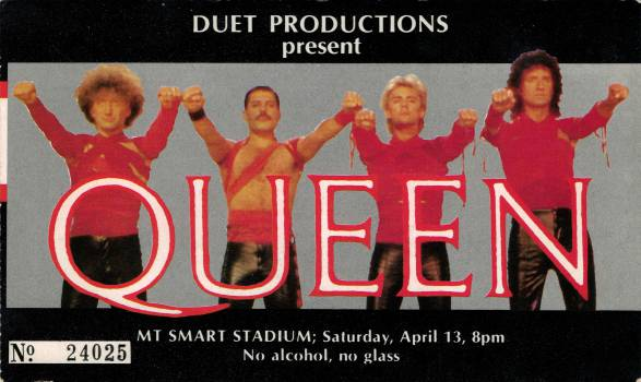 Ticket stub - Queen live at the Mount Smart Stadium, Auckland, New Zealand [13.04.1985]