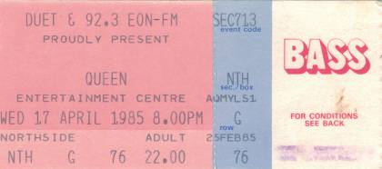 Ticket stub - Queen live at the Sports & Entertainments Centre, Melbourne, Australia [17.04.1985]