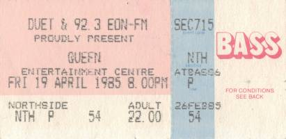 Ticket stub - Queen live at the Sports & Entertainments Centre, Melbourne, Australia [19.04.1985]