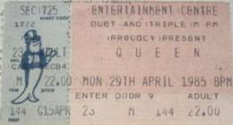 Ticket stub - Queen live at the Entertainments Centre, Sydney, Australia [29.04.1985]