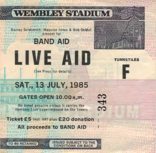 Ticket stub - Queen live at the Wembley Stadium, London, UK (Live Aid festival) [13.07.1985]