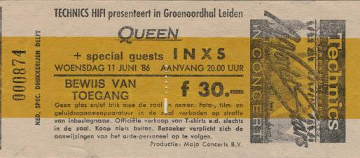 Ticket stub - Queen live at the Groenoordhallen, Leiden, The Netherlands [11.06.1986]