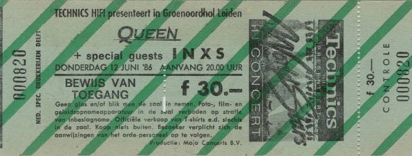 Ticket stub - Queen live at the Groenoordhallen, Leiden, The Netherlands [12.06.1986]