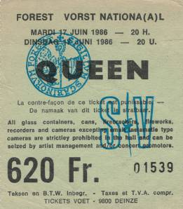 Ticket stub - Queen live at the Forest National, Brussels, Belgium [17.06.1986]