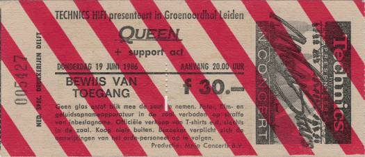 Ticket stub - Queen live at the Groenoordhallen, Leiden, The Netherlands [19.06.1986]