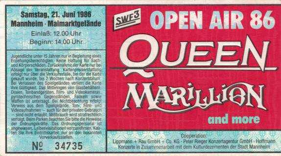 Ticket stub - Queen live at the Maimarktgelände, Mannheim, Germany [21.06.1986]
