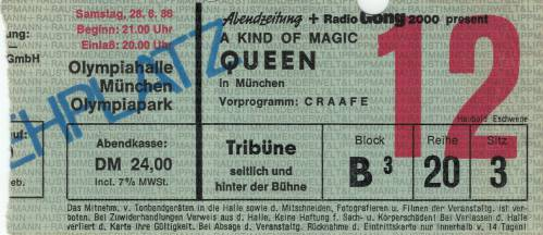 Ticket stub - Queen live at the Olympiahalle, Munich, Germany [28.06.1986]