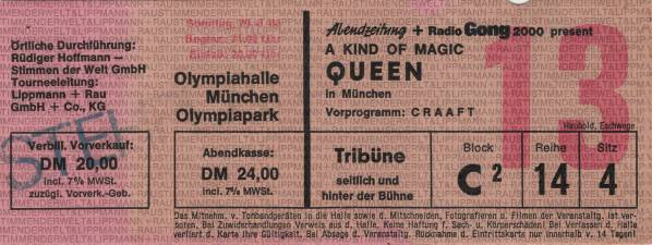 Ticket stub - Queen live at the Olympiahalle, Munich, Germany [29.06.1986]