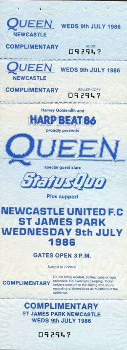 Ticket stub - Queen live at the St. James Park, Newcastle, UK [09.07.1986]